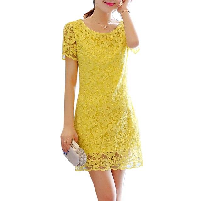 dfc3a713af6 Lace Dress 2018 New Summer Elegant Dresses Women Slim Plus Size Sexy Mini  Dress Party Club Yellow Dresses S-4XL IOQRCJV AA174