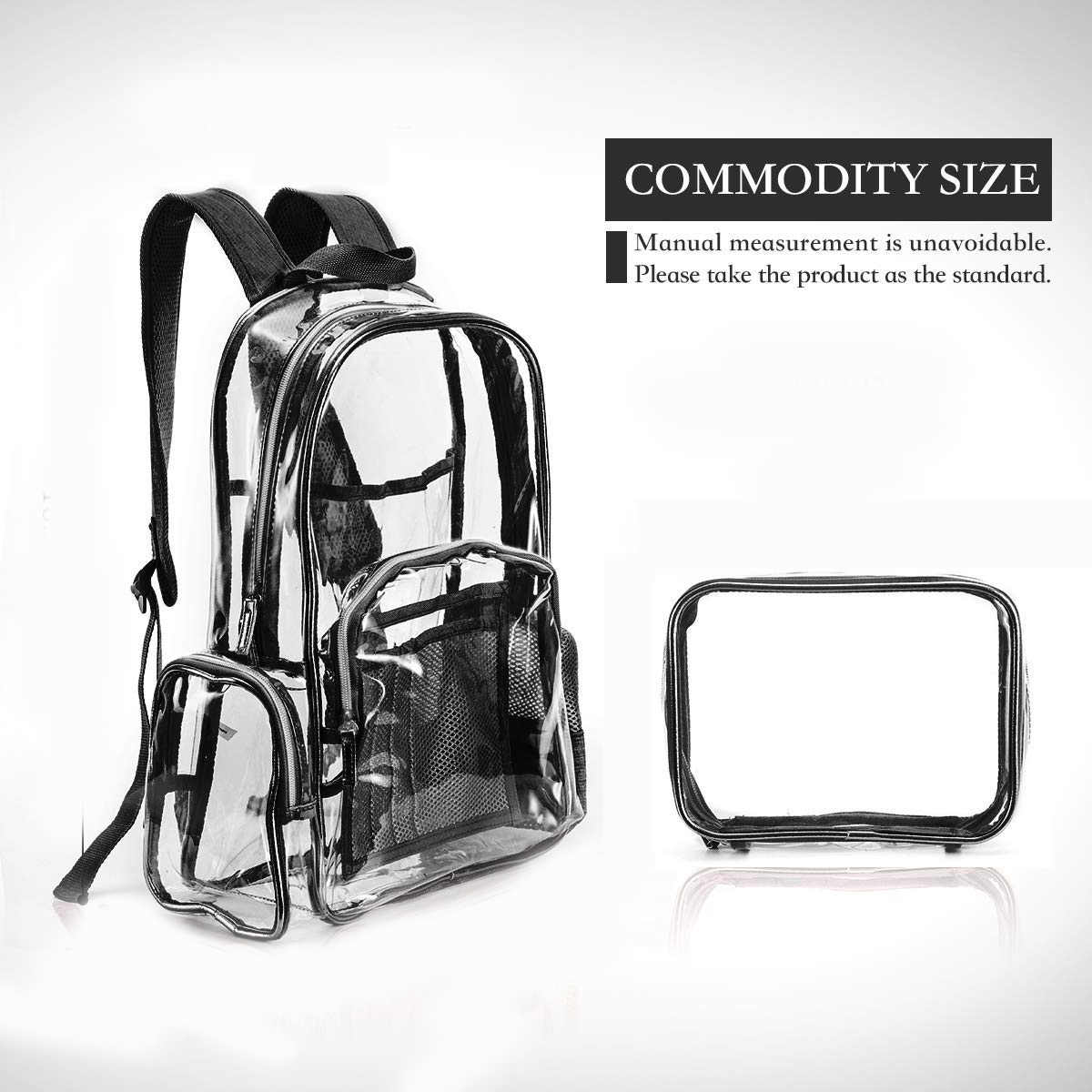 BEAU-Clear рюкзак для девочек, подходит для 15,6 дюймового ноутбука, школьная сумка, рюкзак для студентов, прозрачный ПВХ, несколько карманов, школьный рюкзак