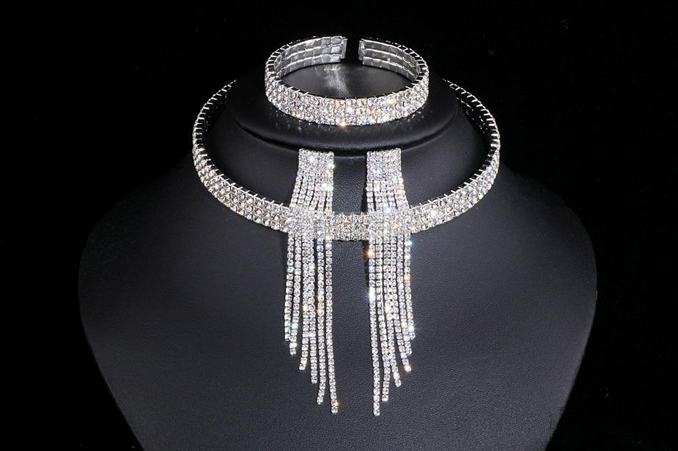 IMG_4815 - Classique, élégant Gland Cristal, Collier De Mariage, Boucles D'oreilles,