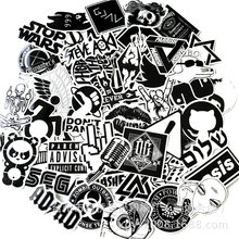 60 PCS Black white Stickers For Car Styling Fridge Phone Bicycle Moto Decal Bomb Guitar Skateboard JDM PVC Brand Sticker Toy(China)