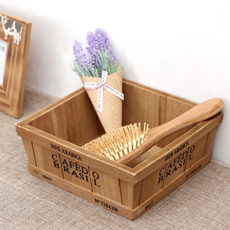 Creative wooden fleshy flower pot wooden box Retro desktop storage box Species of succulent plant box gardening supplies in Flower Pots Planters from Home Garden