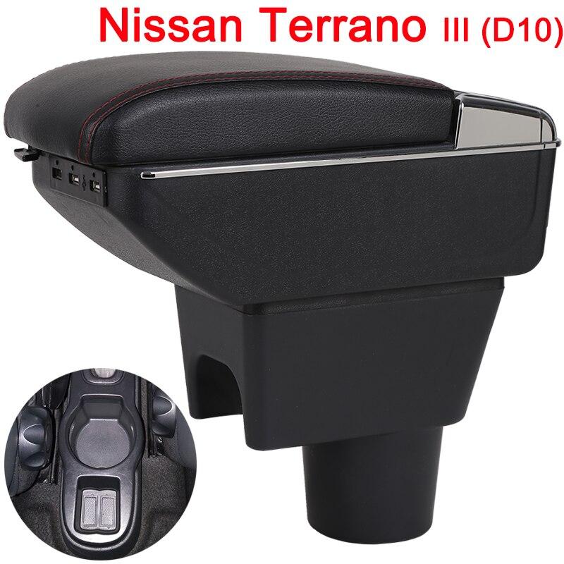 Para Nissan Terrano 3 caja BRV consola central caixa de braço carro universal acessórios modificação levantadas dupla com USB
