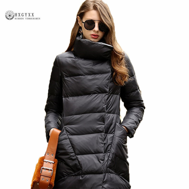 Winter Women Jacket Slim Soild Color   Down     Coat   Long Section Over The Knee Outerwear Wear on both sides Temperament Parka G0259