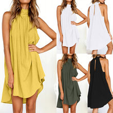 2019 Womens Summer Boho Holiday Cotton Linen Irregular Mini Dress Ladies Beach Sleeveless Party Dress(China)