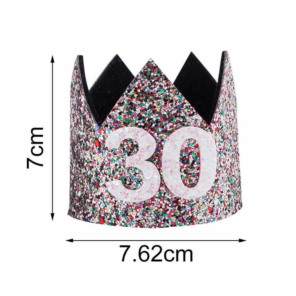 2018 30th Birthday Hat Gold Black Pink Princess Crown Number Party Glitter Headband Accessories
