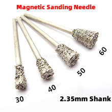 1Pcs Magnetic Sanding Needle Diamond Mounted Point Jade Carving Grinding Head Horn Agate Amber Peeling Polishing Rotary Burrs(China)