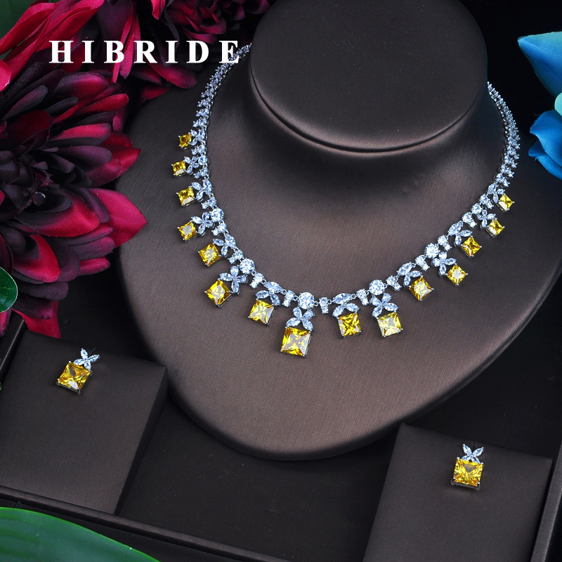 HIBRIDE Sparkling Yellow Cubic Zirconia Jewelry Sets For Women Earring Necklace Set Wedding Dress Accessories Party