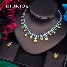 HIBRIDE Funkelnden Gelb Zirkonia Schmuck Sets Für Frauen Ohrring Halskette Set Hochzeit Kleid Zubehör Party Geschenke N 482