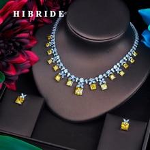 HIBRIDE נוצץ צהוב מעוקב Zirconia תכשיטי סטים לנשים עגיל שרשרת סט חתונה שמלת אביזרי מסיבת מתנות N 482