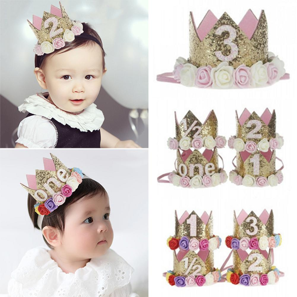 Baby Girl First Birthday Decor Flower Party Cap Crown Headband 1 2 3 Year Number Priness Style Birthdays Hat Baby Hair Accessory