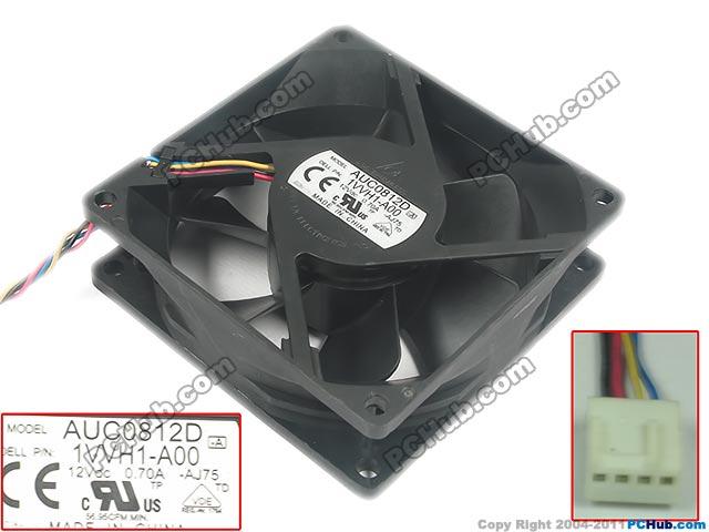 Delta AUC0812D AJ75 DC 12V 0.7A 4 wire 80x80x25mm Server Square fan