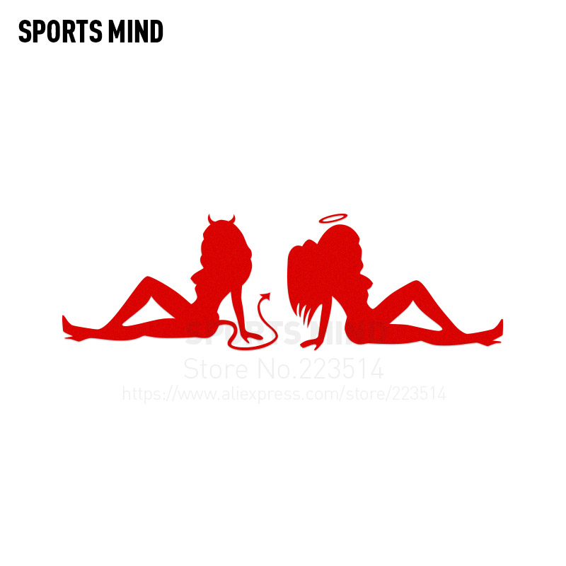 3 Pieces Sports mind sexy Angel and devil beauty car styling Automobiles Waterproof Reflective vinyl Sticker Decal For All Car