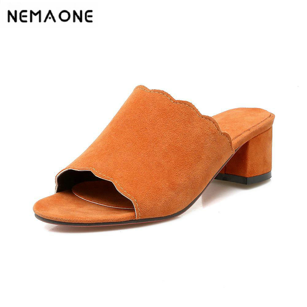 <font><b>2018</b></font> New <font><b>sexy</b></font> women <font><b>sandals</b></font> Fashion square heels slip-on summer shoes woman high heels Slippers <font><b>sandals</b></font> image