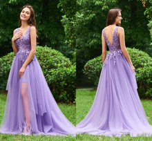 Lace Appliques Prom Dresses 2019 vestido de festa V Neck Purple Prom Party Formal Dress Prom robe de soiree Evening Party Gowns robe de soiree new plunging v neck appliques evening dress champagne prom gowns pageant dresses vestido de noiva