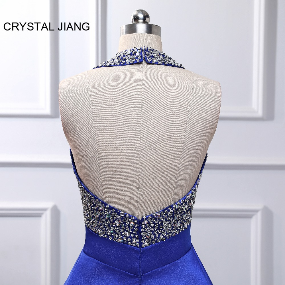 New Fashion Cocktail Dresses 2019 Robe cocktail Halter Heavy Beading Royal Blue Satin Sexy Open Back Short Mini Party Dress in Cocktail Dresses from Weddings Events