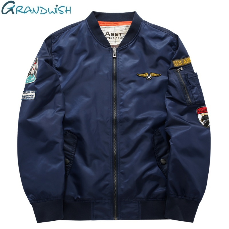 Grandwish Flight Bomber Jacket Mænd Plus Størrelse 6XL Mænd Pilot Bomber Jacket Patch Design Large Size Bomber Jacket Herre, PA868