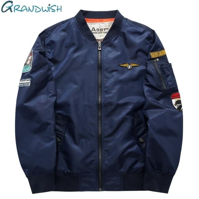 $ US $19.94 Grandwish Flight Bomber Jacket Men Plus Size 6XL Men Pilot Bomber Jacket Patch Design Large Size Bomber Jacket Mens ,PA868