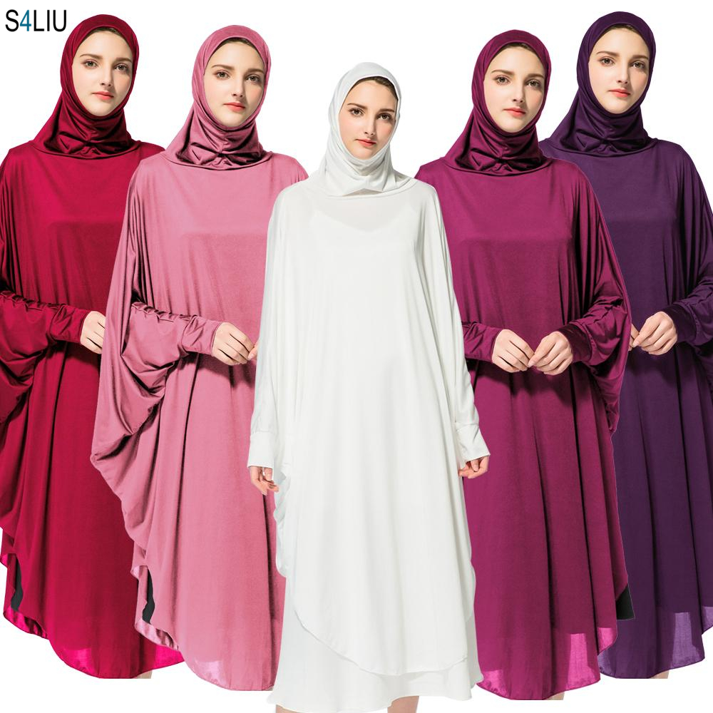New Women Muslim Worship Lady Thobe Gown Hijab Prayer Bat Sleeve Middle East Robe Islamic With Hood Abaya Praying Hijab Dress
