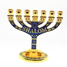 Jerusalem Menorah Shalom Blue Jewish Menorah
