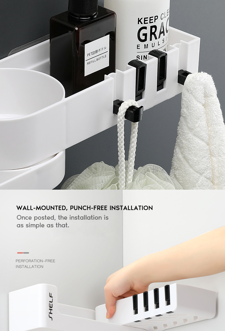 Rotatable Wall Mounted Bathroom Organizer With 4 Hook For Storage Shower Gel And Shampoo 21