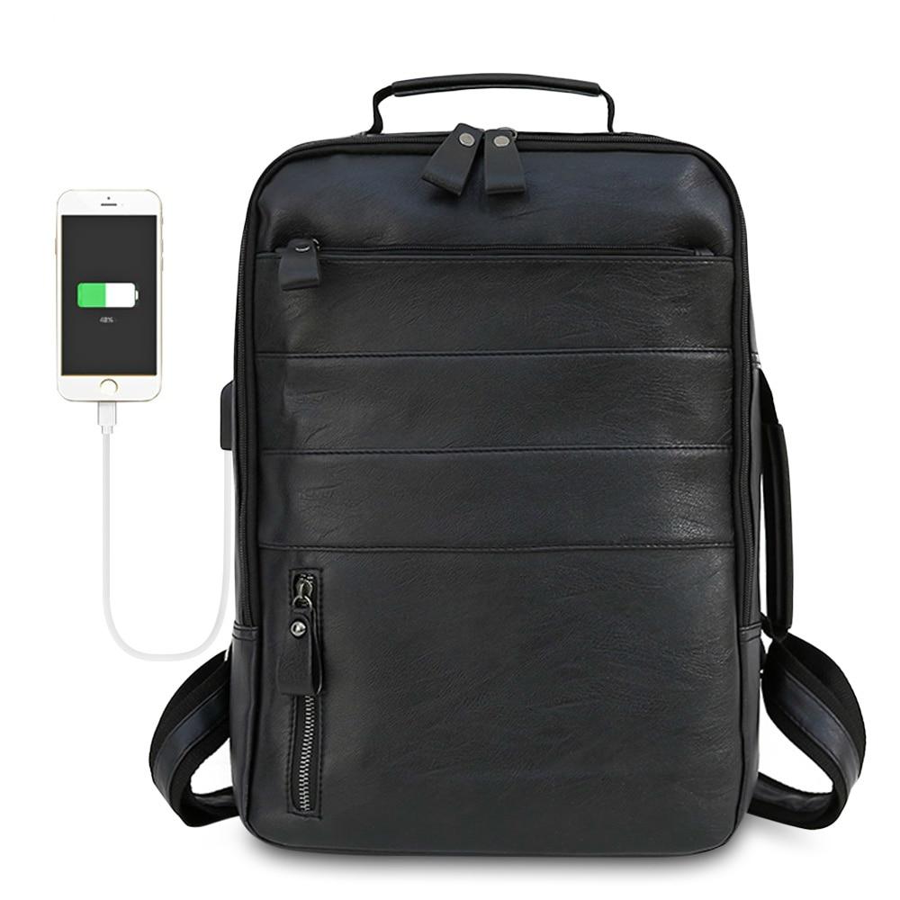 Men Leather Backpack Anti Theft Smart UAB Travel Backpack Waterproof Male Laptop Bagpack Black Bag Man School College Schoolbag host uab cd