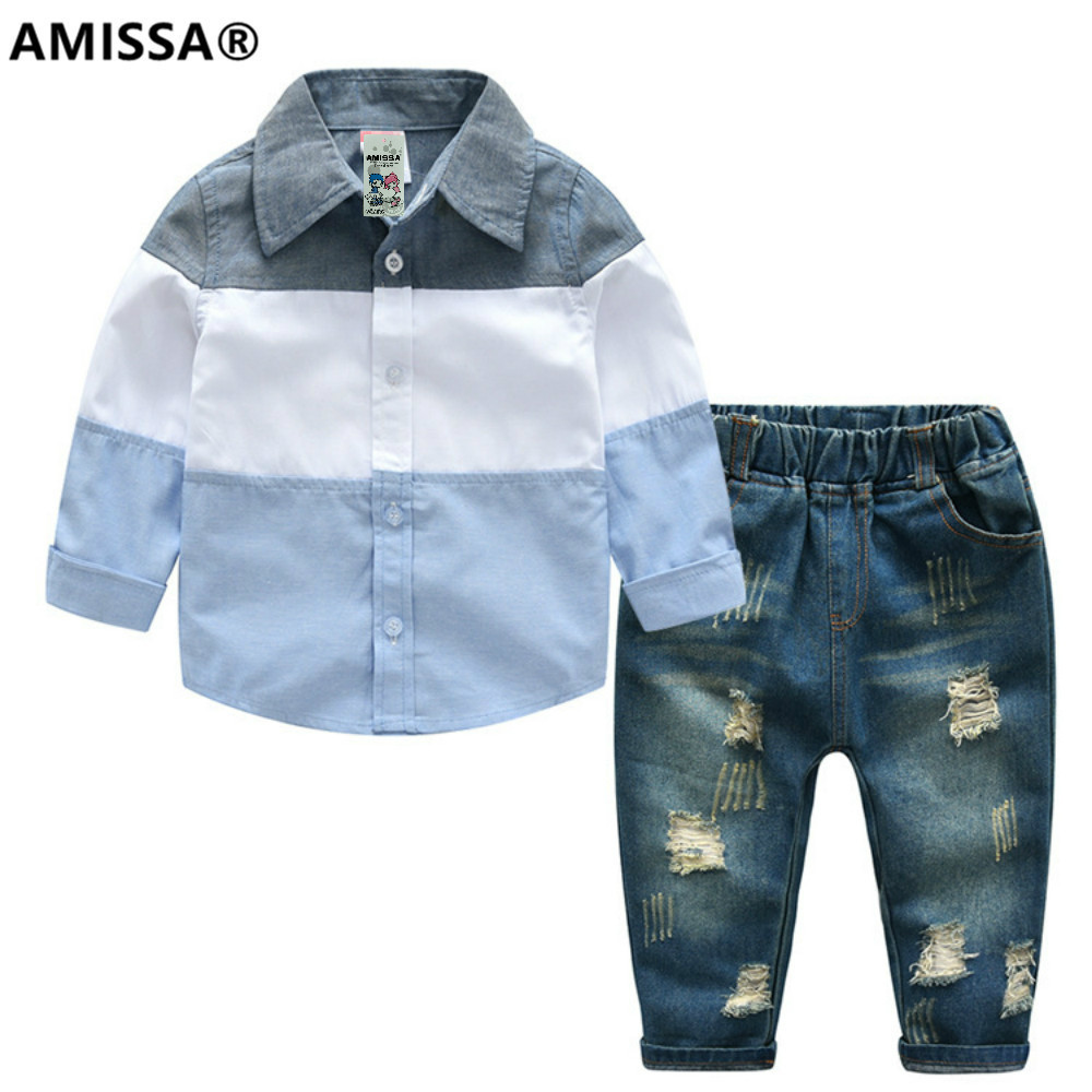 AMISSA boys all cotton casual shirt jeans pants 2 children's suits two piece set baby kids clothes children clothing costumes baby boy clothes suits vest plaid shirt pants 3pcs set party formal gentleman wedding long sleeve kid clothing set free shipping
