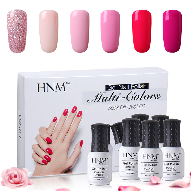 Hnm 6pcsset Varnish Semi Permanent Solid Gelpolish Diy Nail Art Kit