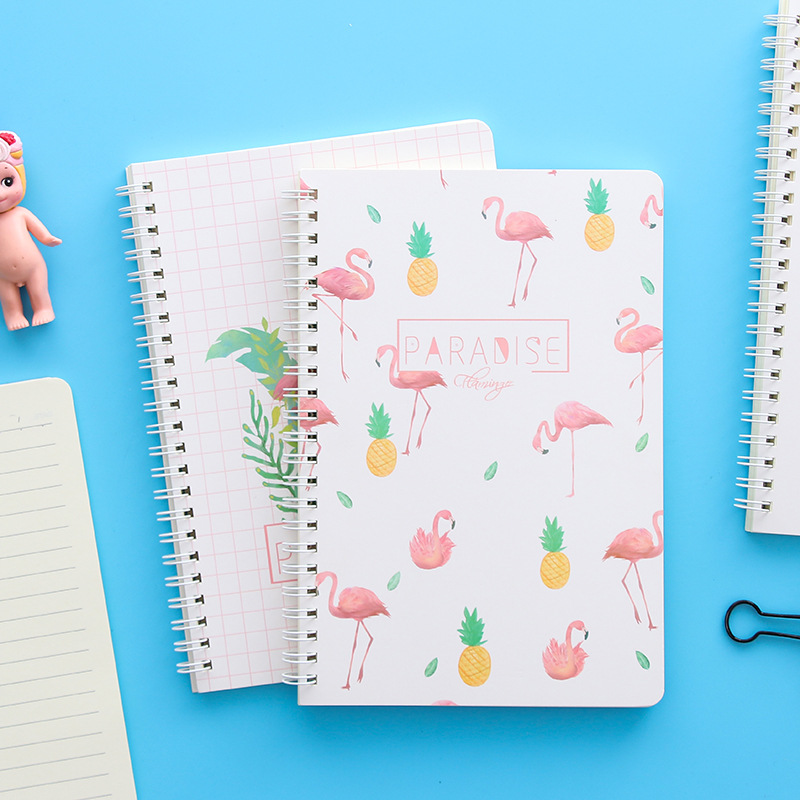 Coloffice Kawaii Cute Cratoon Flamingo Notebook A5 Note Book Kid Gift Student Stationery School Office Supplies Random Style 1PC