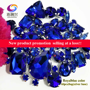 Image 2 - Sell at a loss!! 68pcs/pack Royalbblue mix size high quality glass crystal material sew on rhinestones,diy/Clothing accessorie