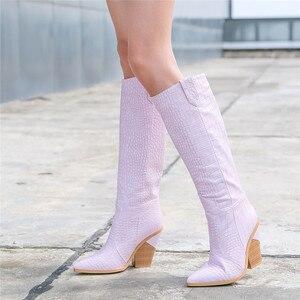 Image 4 - MORAZORA botas para mujer de tacón alto grueso hasta la rodilla punta estrecha, botas de invierno doradas, alta calidad, hasta la rodilla, 2020