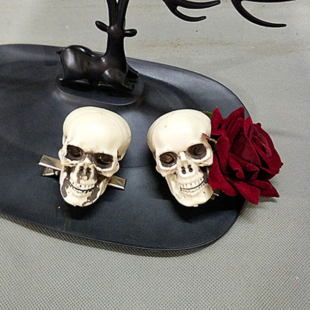 Handmade Lolita Gothic Skeleton Skull Rose Headwear Hairpin Prop Accessory Cosplay Halloween
