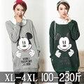 Gran tamaño de invierno suéter traje de las mujeres de maternidad añadir fertilizantes traje con suéter de cachemira gruesa de Dibujos Animados de Mickey Mouse