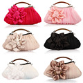 2016 New Women's Flower Prom Party Evening Handbag Clutch Bag Dress Hasp Wedding Satin Package Hot Sale High Quality 35