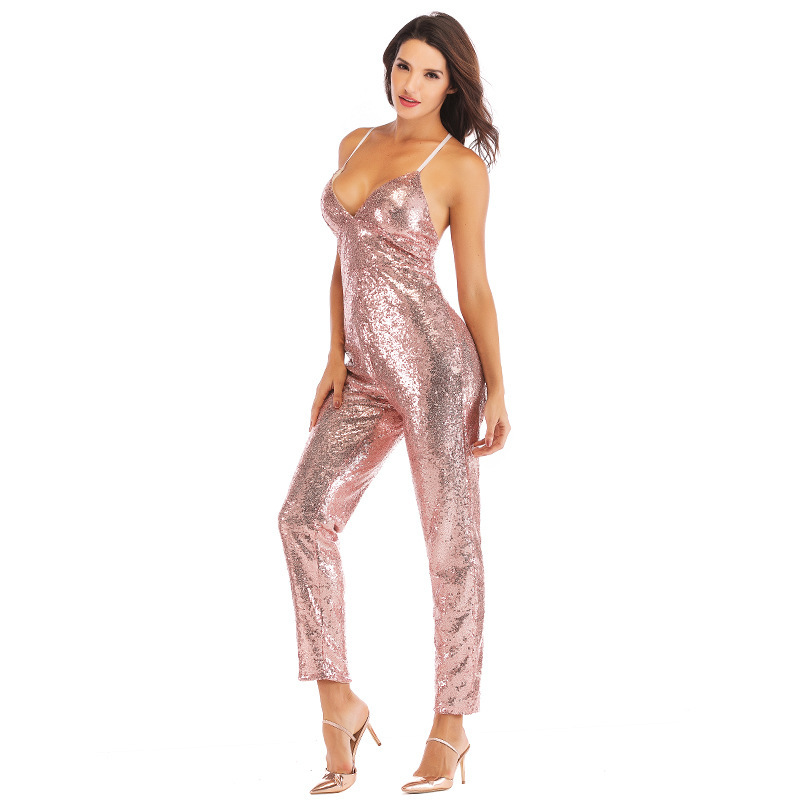 d2eb52d6b27 MUXU gold sequin suspender backless one piece jumpsuit body mujer ...
