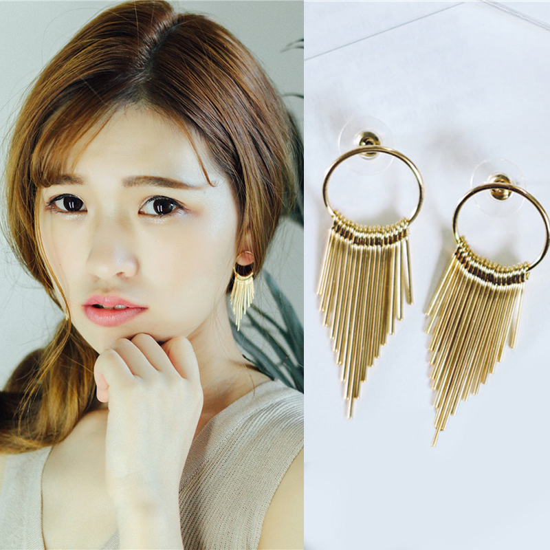 Long Tassel Statement Stud Earrings For Women Fashion Korean Big Long Earrings Girl Ear Jewelry Party Brincos 2016 New XE35