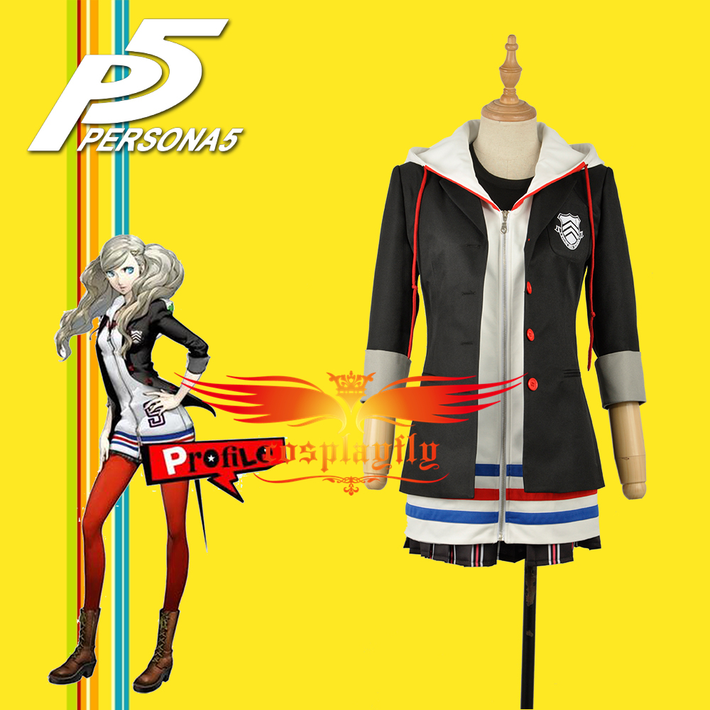 Persona 5 Anne Takamaki Female Outfit Black Jacket Shirt Coat Skirt Clothing School Uniform Cosplay Costume with Stockings W1168