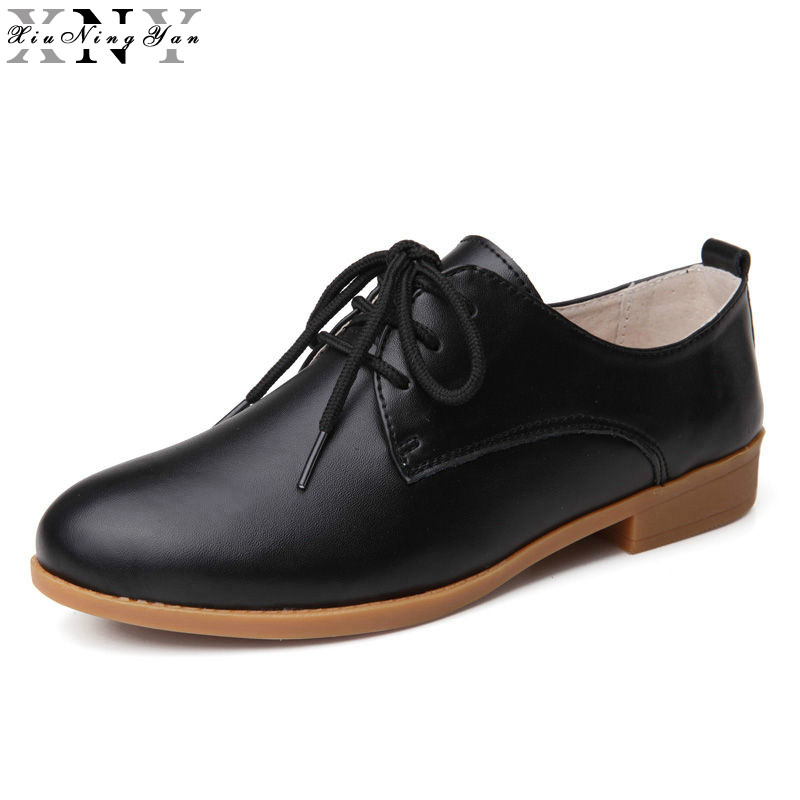 XiuNingYan Women Flats Oxford Shoes Women Genuine Leather Oxfords Flat Heel Casual Shoes Lace Up Women's British Brogues Shoes xiuningyan soft leather women shoes brogues lace up flat pointed toe patent leather white oxfords women casual shoes for women