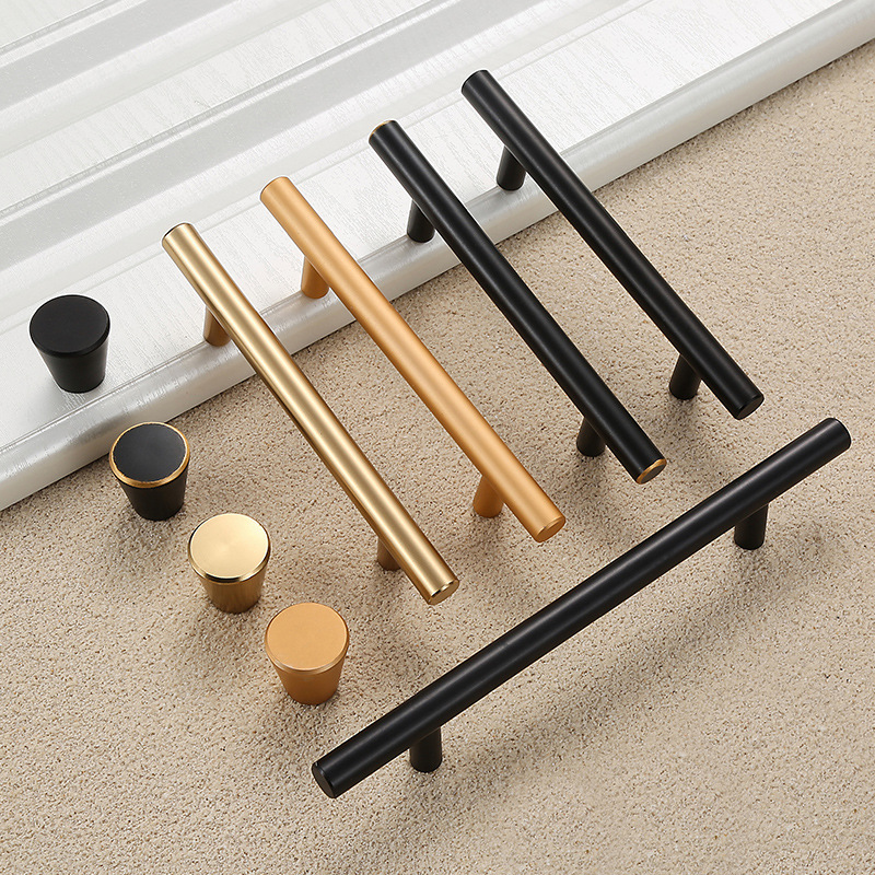 Modern And Simple American Cabinet Door Handle Nordic Wardrobe Gold Copper Matte Black Cabinet Drawer Single Hole Pull