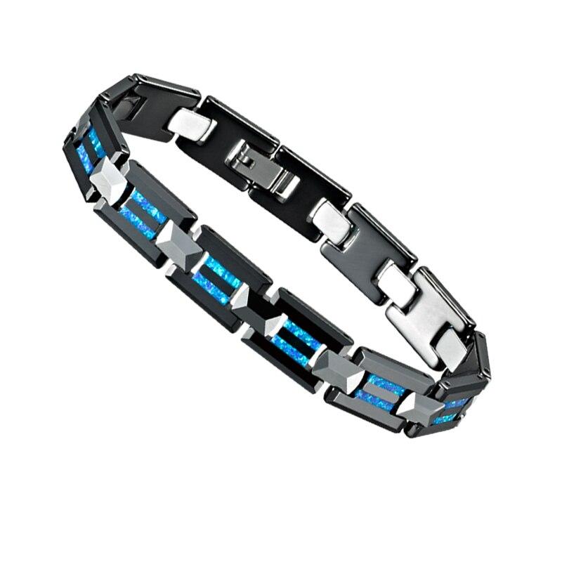Luxe Bleu Australie Opale Naturelle noir céramique de carbure de tungstène de mode bijoux homme femme Hommes bracelets pour les femmes