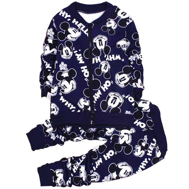 Более дешевый комплект одежды для маленьких мальчиков и девочек с Минни и Микки; сезон осень-зима; теплая шерсть; Детские костюмы; пальто на молнии; брюки; рождественские костюмы из 2 предметов