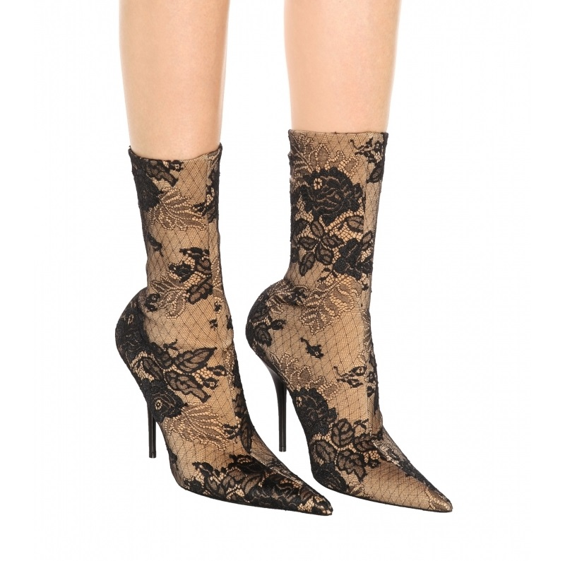 Dentelle Aiguille Bottes Cheville Élégant Serré Designer Femmes Chaussette Chaussures Slip Couverts Boot Noir Talons Haute Bootie Talon Mince on vOFqw5xF