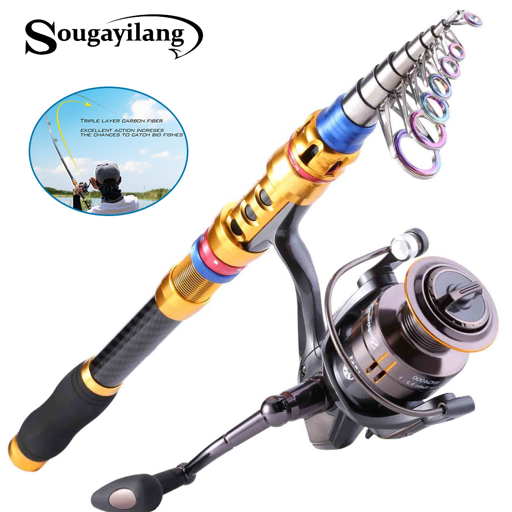 Sougayilang Telescopic Fishing Rod and 14BB Spinning Fishing Reel Sets Carp Rod Reel Wheel Combo Saltwater