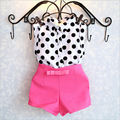 BibiCola 2017 summer fashion style baby girls clothing sets children polka dot t-shirt +short pants 2pcs tracksuit set for girls