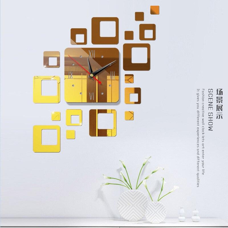 Американский современный большой 3D зеркальная поверхность настенные часы стикер домашний офис комната DIY Декор - Цвет: d