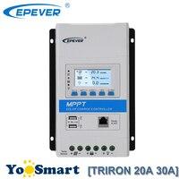 EPever TRIRON MPPT 30A 20A Regulador солнечный коллектор 12/24VDC автоматический общий отрицательный модульный ЖК контроллер панели солнечных батарей