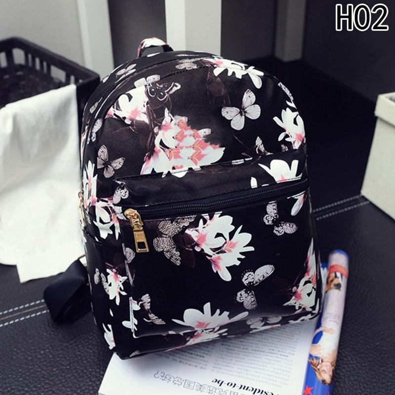 2018 Fashion Women Floral Printing Leather Backpack School Bags For Teenage Girls Lady Travel Small Backpacks Mochila Feminina