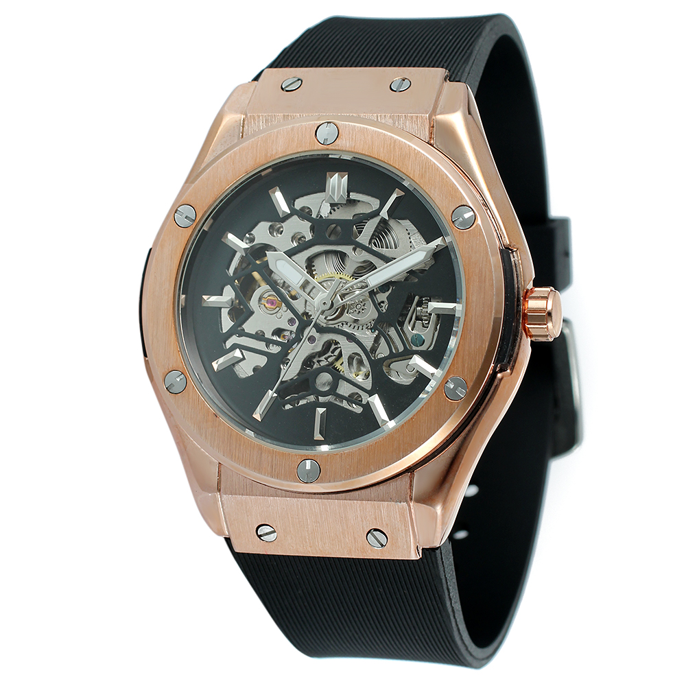 FORSINING Top Brand Luxury Watches Men Automatic Skeleton Watch Male Silicone Strap Mechanical Watch Sport Clock Relogio Masculi automatic watch men rose gold mens watches top luxury brand read mechanical leather wristwatches skeleton male clock man relogio