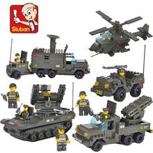 Sluban 956 Pcs Tanque Militar Batalha Tropas Do Exército Lutador 3D Construção de Blocos de Construção Iluminar Tijolos Brinquedos Para As Crianças