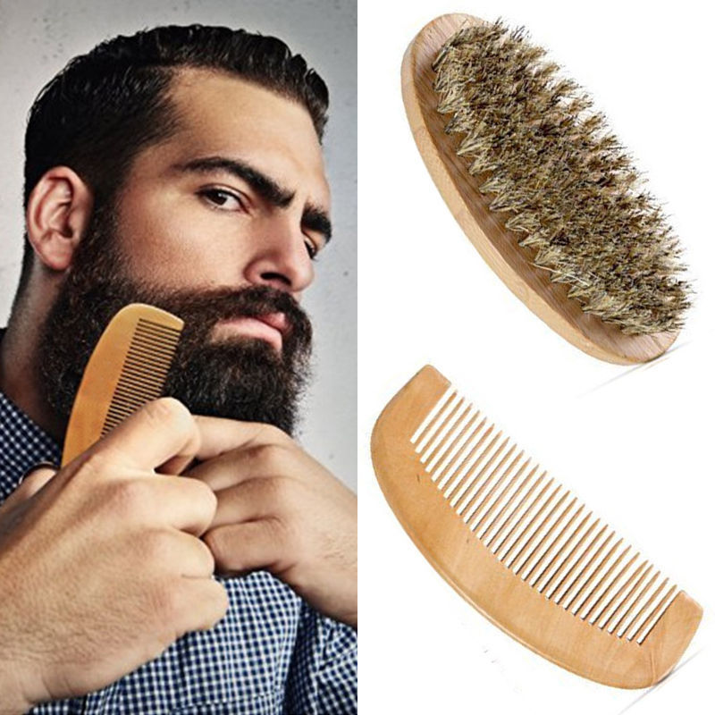 2Pcs Mens Beard Care Set Boar Bristle Beard Brush And Beard Comb Grooming Kit