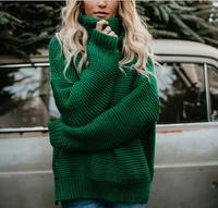 2019 Autumn Winter Vintage Long Sweater Women Tops Turtleneck Loose Pullover Knitted Sweater Solid Wild Fashion Female QH1922